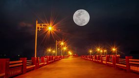 The lights on the bridge and The full moon In the dark sky at night Moving up fast in Prachuap Bay ,Thailand stock video footage