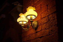 The lights at brown brick wall, Royalty Free Stock Images