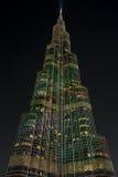 Lights on Burj Khalifa at night in Dubai, world tallest building Royalty Free Stock Photo