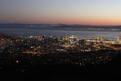 Lights of Cape Town early morning Royalty Free Stock Photos