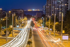 Lights of cars on the avenue Royalty Free Stock Photos