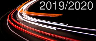 Lights of cars with night. Change in 2019/2020 stock photos