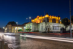 The lights of cars passing in front  of National Assembly in city of Sofia Stock Photos