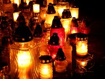 Lights of Cemetery Candles at night Stock Images