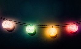 Lights chain festive dark background royalty free stock photography