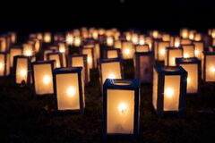 Lights, Christmas Luminaries, Night Stock Photos