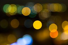 Lights of city at night. Bokeh from lights of the night city stock photography