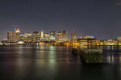 Lights of the City. A night scene of Boston City Royalty Free Stock Photography