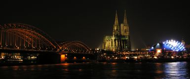 Lights of Cologne. The most popular landmarks of Cologne by night Stock Photo