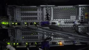 Lights and connections on network server.  stock footage