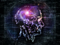 Lights of Consciousness. Composition of outlines of human head, technological and fractal elements on the subject of artificial intelligence, computer science Royalty Free Stock Photo