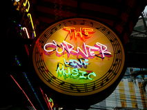 Lights. The Corner Live Music is located in Bangkok, Thailand and uses this beautiful sign for it`s business Stock Photography