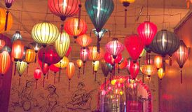 Lights in the dark in restaurant. Colorful paper lanterns in Hanoi, Vietnam Royalty Free Stock Photography