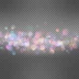 Lights on dark transparent background. EPS 10. Shiny defocused bokeh lights on dark transparent background. Festive background for card, flyer, invitation Stock Photos