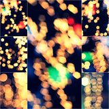 Lights Decoration Yellow Blurred Event Festival outdoor Vintage toned Bokeh Collage set of Colorized images Royalty Free Stock Photos