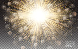 Lights effect Bright flare decoration with sparkles. Gold glowing circle light burst explosion Transparent shine gradient glare. Royalty Free Stock Photography