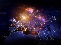 Lights of Europe. Rendering of city light map of Europe (courtesy of NASA) and abstract lights on the subject of technology in the modern world Royalty Free Stock Photography