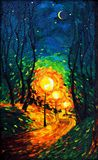 Lights the evening Moon oil painting Royalty Free Stock Photos
