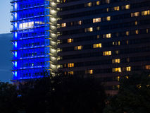 Lights in the facades of business buildings in Frankfurt, Germany Stock Photo