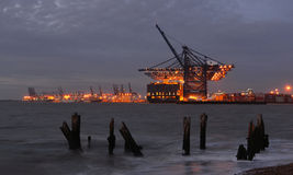 Lights of Felixstowe Dock Stock Photo