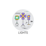 Lights Film Production Industry Icon. Vector Illustration Stock Photo