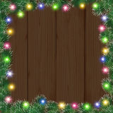 Lights and fir branches. Christmas background with glowing garland. vector illustration Royalty Free Stock Photo