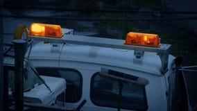 Lights Flashing On Breakdown Vehicle In The Rain