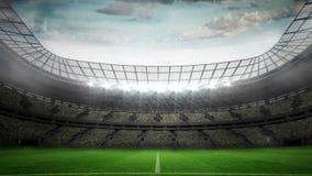 Lights flashing in large football stadium