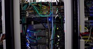 Lights flashing on servers stock video