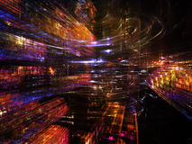 Lights of Fractal Metropolis. Fractal City series. Composition of  three dimensional fractal structures and lights to serve as a supporting backdrop for projects Royalty Free Stock Image