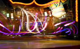 Lights from fun fair carousel Stock Photos
