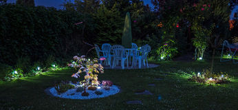 Lights at a garden by night Stock Photo