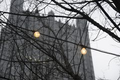 Lights and the Glass Castle. In Pittsburgh During Winter Stock Photography