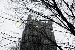 Lights and the Glass Castle. In Pittsburgh During Winter Royalty Free Stock Photos