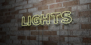 LIGHTS - Glowing Neon Sign on stonework wall - 3D rendered royalty free stock illustration Royalty Free Stock Photo