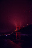 Lights on Golden Gate Bridge, San Francisco, California Stock Image