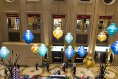 Lights in the grand shopping mall of the Palazzo Venetian Resort. The Venetian/Palazzo is a luxury hotel and casino resort located on the Las Vegas Strip in stock image