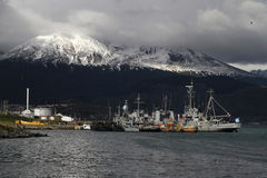 Lights on the Harbor of Ushuaia. The Harbor of Ushuaia on the Beagle Channel. The channel was named after the ship HMS Beagle on which travelled Charles Darwin Stock Photos