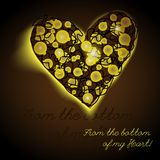 Lights heart string bulbs on brown background christmas garlands stock photo