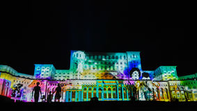 Lights on the house of the people, imapp 2016, Bucharest. Screenings lights on the house of the people, Bucharest, Romania stock photography