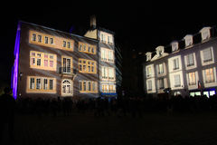 Lights on Houses of Place Saint Jean Royalty Free Stock Photography