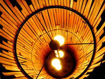 Lights inside Lamp. Lights shining from inside of Bamboo Lamp Cover Stock Photos