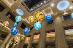 Lights inside the Palazzo Las Vegas. The Palazzo is a luxury hotel and casino resort located on the Las Vegas Strip in Paradise, Nevada. It is the tallest stock photography
