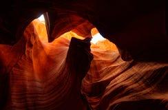 Lights inside Upper Antelope Canyon, Arizona stock photography