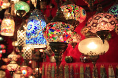 Lights on Istambul market. Glass lights store on Istambul market Royalty Free Stock Photography