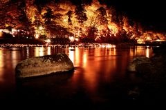 Lights in japanese autumn Korankei Park stock images