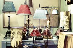 Lights with lampshade in antique store Royalty Free Stock Photo