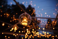 Lights and lanterns in the wedding. Bokeh