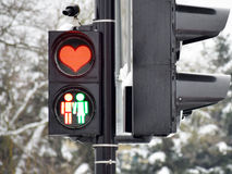 Lights of love. Green and red traffic in love. Valentine's photo royalty free stock images