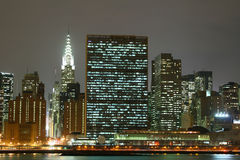 lights manhattan midtown night nyc skyline στοκ εικόνα